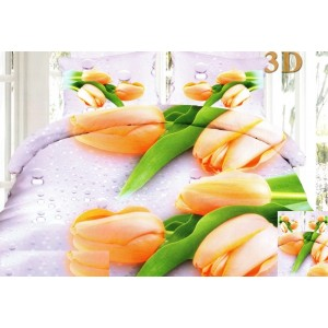 Moderné posteľné 3D obliečky v bielej farbe s oranžovými tulipánmi