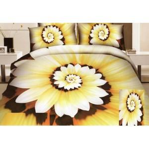 Kvetový púčik posteľné obliečky žlto hnedej farby