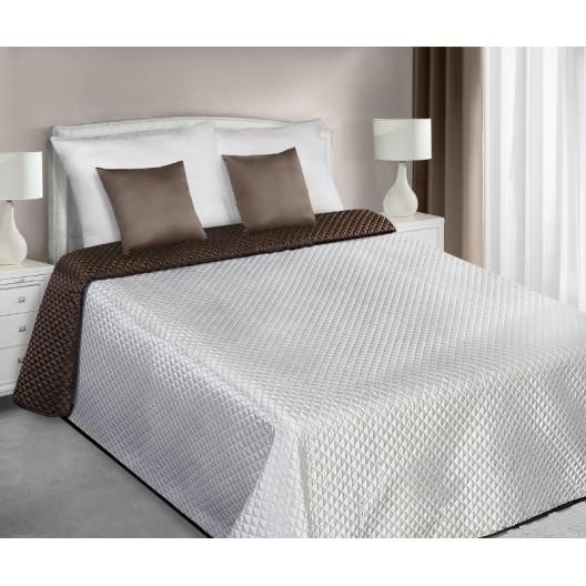 Saténový prešívaný ecru hnedý prehoz na manželskú posteľ