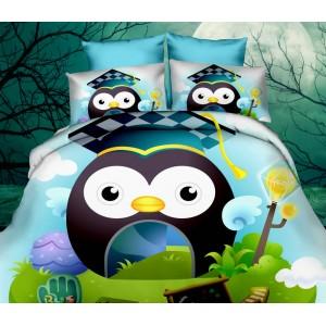 Modré 3D posteľné obliečky s motívom sovy s veľkými očami