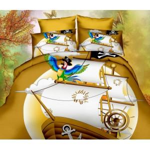 Žlté 3D posteľné obliečky s papagájom na pirátskej lodi