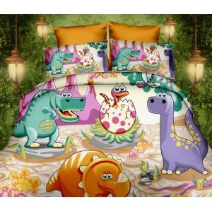 Súprava posteľných obliečok bielej farby s motívom dinosaurov