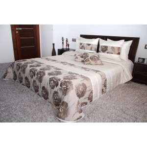 Luxusný krémovo béžový prehoz na manželskú posteľ s motívom kvetov
