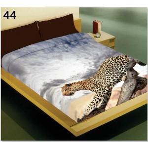 Teplá prikrývka sivej farby na posteľ pre deti s motívom geparda