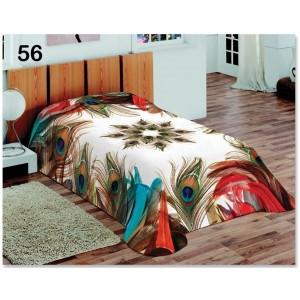 Moderná biela deka na jednu posteľ s pávími pierkami