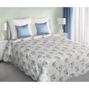 Luxusné obojstranné prehozy na posteľ bielej farby s modrými kvetmi