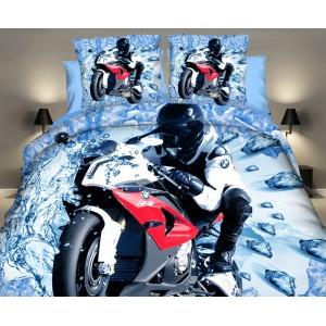 Súprava posteľných obliečok modrej farby s motorkárom