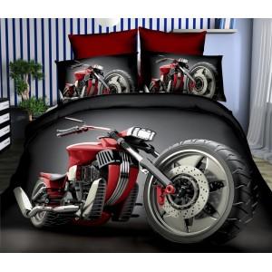 Čierne obliečky na posteľ z mikrovlákna a červenou motorkou