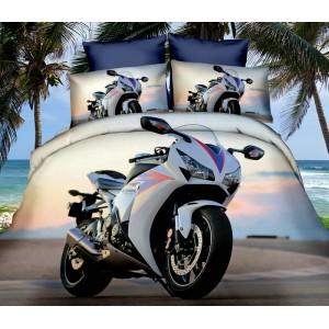 Biela motorka posteľné obliečky bielej farby