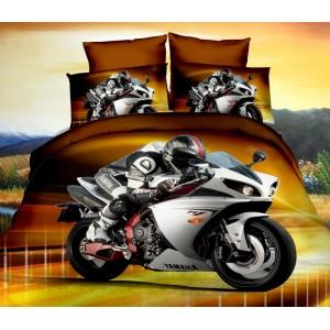 Posteľné návliečky hnedej farby s motorkárom