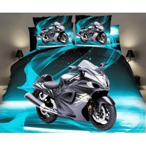 3D tyrkysovo čierne posteľné návliečky s motorkou