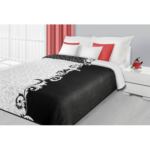 Obojstranné prehozy cez posteľ bielo čiernej farby
