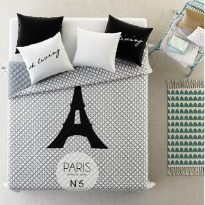 Luxusné prehozy na posteľ sivej farby so vzorom eiffelovej veže