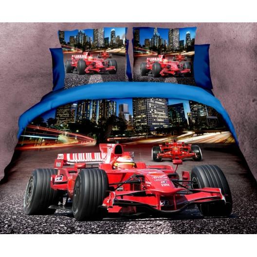 Červená formula posteľné obliečky z mikrovlákna v tmavomodrej farbe