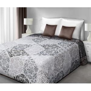 Prehoz obojstranný na manželskú posteľ v bielo hnedej farbe