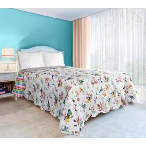 Obojstranná prikrývka na manželskú posteľ bielej farby s motívom vtákov