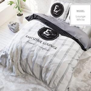 Biele posteľné obliečky z mikrovlákna s pruhmi