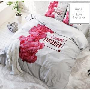 Biele posteľné obliečky z mikrovlákna s ružovým motívom