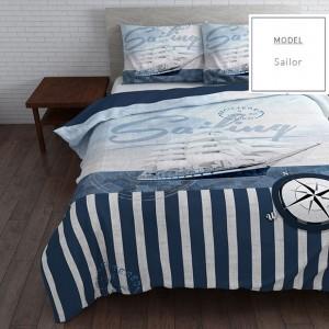 Modré obliečky na posteľ z mikrovlákna s námorníckym štýlom