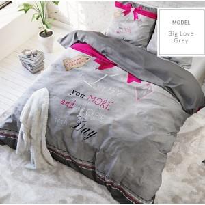 Sivé posteľné obliečky z mikrovlákna s ružovou mašľou