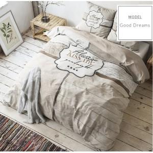 Béžové posteľné obliečky z mikrovlákna a nápisom