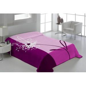Luxusná deka v ružovej farbe s kvetom
