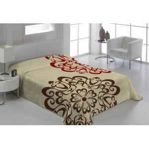 Dekoračná deka a prikrývka bežovej farby s ornamentami