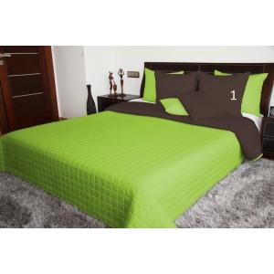 Zelené prehozy obojstranné na posteľ
