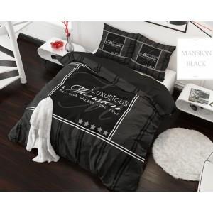 Súprava posteľných obliečok z mikrovlákna čiernej farby s nápisom