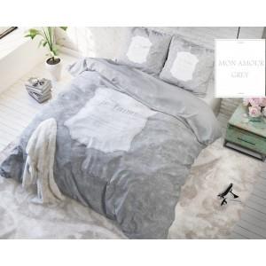 Sivé posteľné obliečky z mikrovlákna s kvetinami