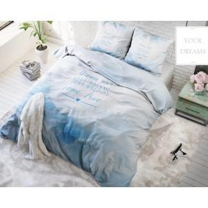 Biele posteľné obliečky z mikrovlákna s nápisom