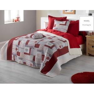 Vintage prehoz na manželskú posteľ v krémovo červenej farbe