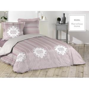 Bavlnené staro ružové posteľné návliečky s prúžkami