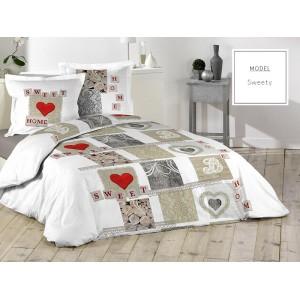 Bavlnené posteľné návliečky v bielej farbe so srdiečkami