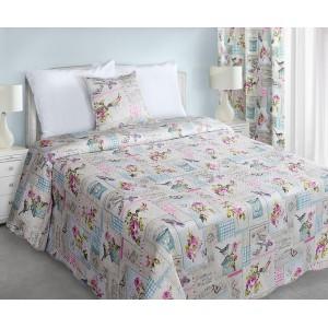 Bežové obojstranné vintage prikrývky na posteľ