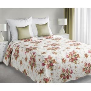Biele obojstranné prehozy na posteľ s kvetinovým vzorom