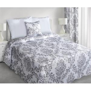Biele obojstranné prikrývky na posteľ s ornamentami