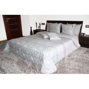 Luxusný sivý prehoz na manželskú posteľ s ornamentami