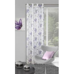 Biely hotový interiérový záves s kvetmi