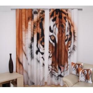 Tiger dekoratívny hotový záves biely