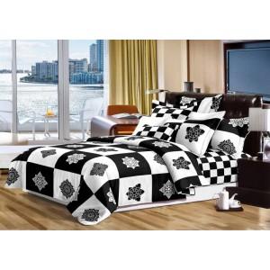 Prešívaná obojstranné bielo čierna prikrývka na manželskú posteľ