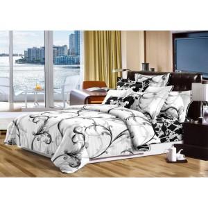 Elegantná prešívaná prikrývka bielo čierna na manželskú posteľ