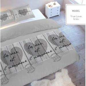 Posteľné obliečky v sivej farbe na manželskú posteľ