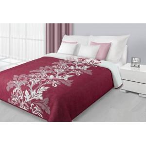 Obojstranný prehoz na posteľ bordovo bielej farby