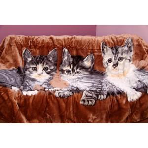 Akrylová deka s mačkami v hnedej farbe
