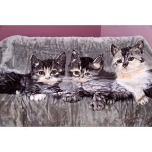 Sivá deka s mačkami akrylová