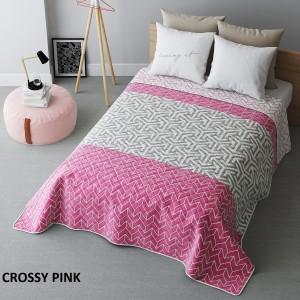 Ružový prehoz na posteľ obojstranný