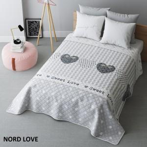 Obojstranný prehoz na posteľ sivej farby