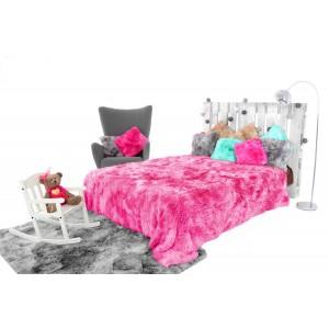 OMBRE ružová chlpatá deka na posteľ