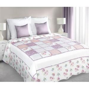 Patchwork prehoz v bielo ružovej farbe vintage